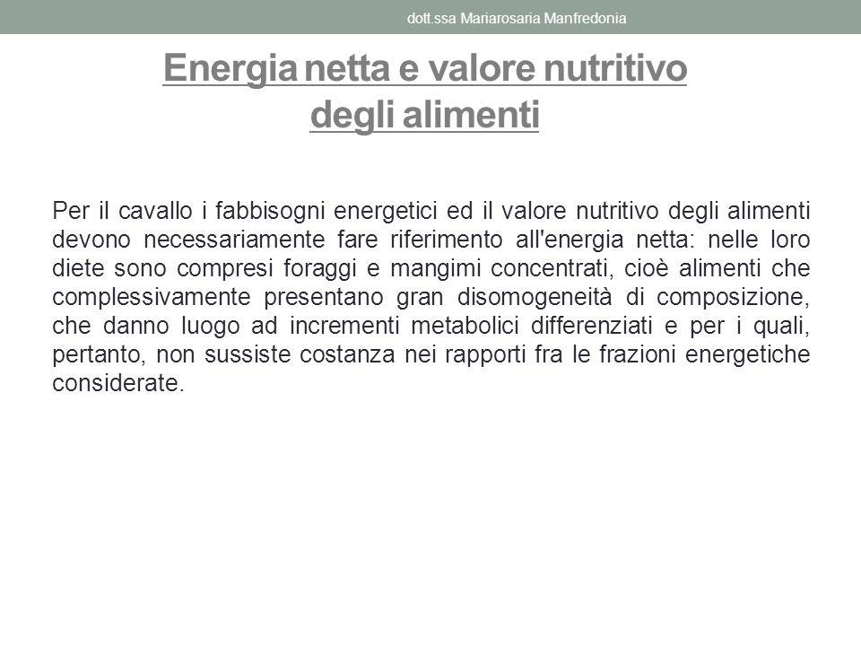 Energia netta e valore nutritivo degli alimenti Per il cavallo i fabbisogni energetici ed il valore nutritivo degli alimenti devono necessariamente fa