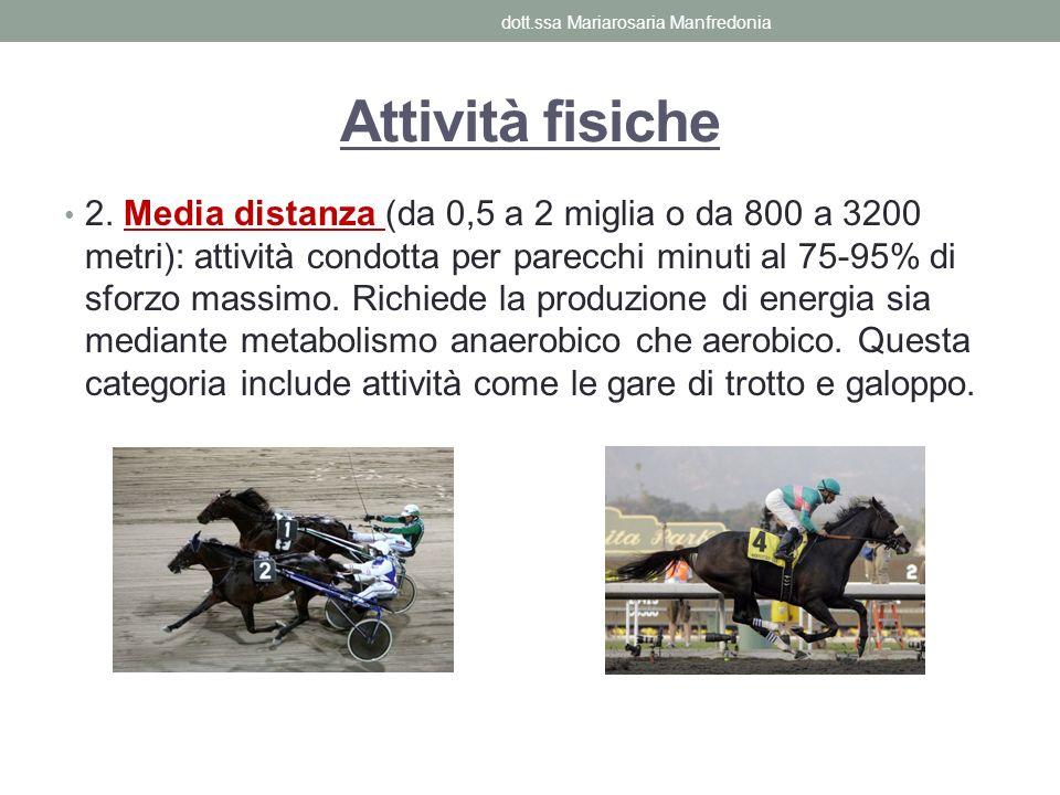 Attività fisiche 2. Media distanza (da 0,5 a 2 miglia o da 800 a 3200 metri): attività condotta per parecchi minuti al 75-95% di sforzo massimo. Richi