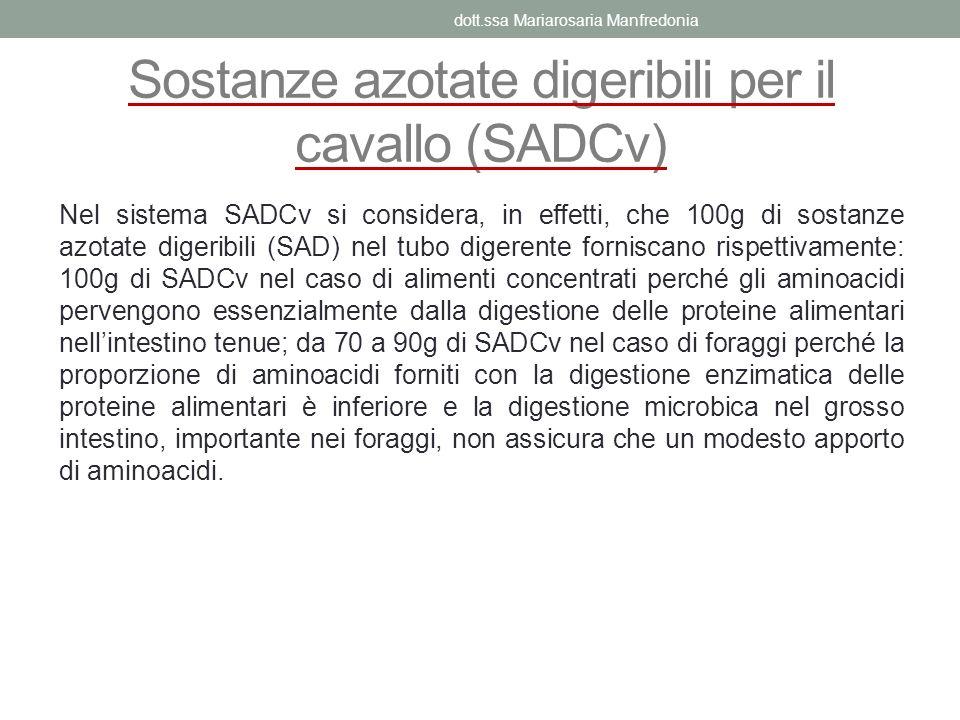 Sostanze azotate digeribili per il cavallo (SADCv) Nel sistema SADCv si considera, in effetti, che 100g di sostanze azotate digeribili (SAD) nel tubo