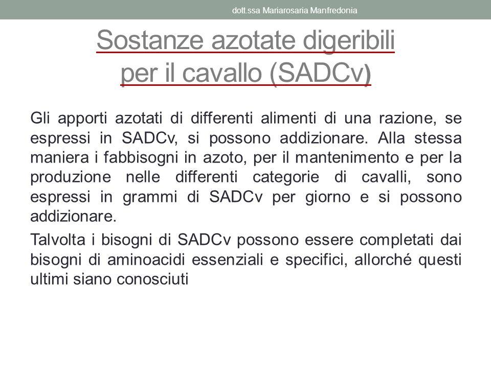 Sostanze azotate digeribili per il cavallo (SADCv ) Gli apporti azotati di differenti alimenti di una razione, se espressi in SADCv, si possono addizi