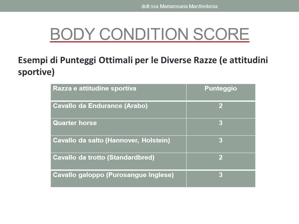 BODY CONDITION SCORE Esempi di Punteggi Ottimali per le Diverse Razze (e attitudini sportive) Razza e attitudine sportivaPunteggio Cavallo da Enduranc