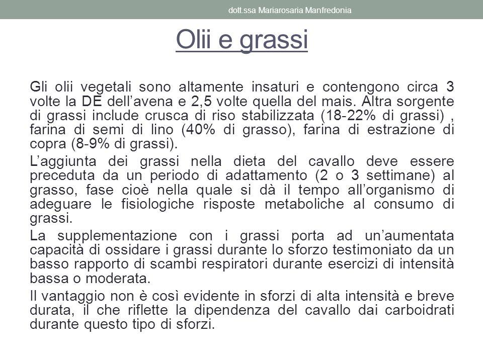 Olii e grassi Gli olii vegetali sono altamente insaturi e contengono circa 3 volte la DE dellavena e 2,5 volte quella del mais. Altra sorgente di gras