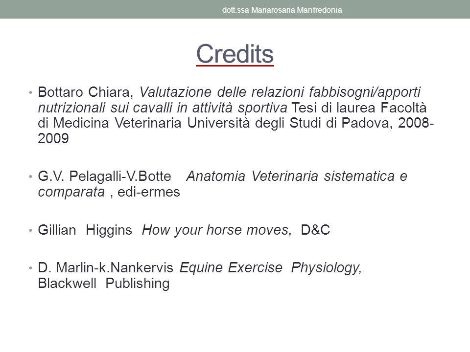 Bottaro Chiara, Valutazione delle relazioni fabbisogni/apporti nutrizionali sui cavalli in attività sportiva Tesi di laurea Facoltà di Medicina Veteri