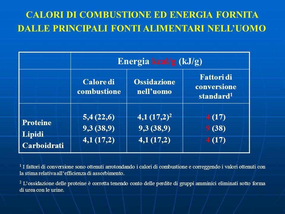 Energia kcal/g (kJ/g) Calore di combustione Ossidazione nelluomo Fattori di conversione standard 1 Proteine Lipidi Carboidrati 5,4 (22,6) 9,3 (38,9) 4