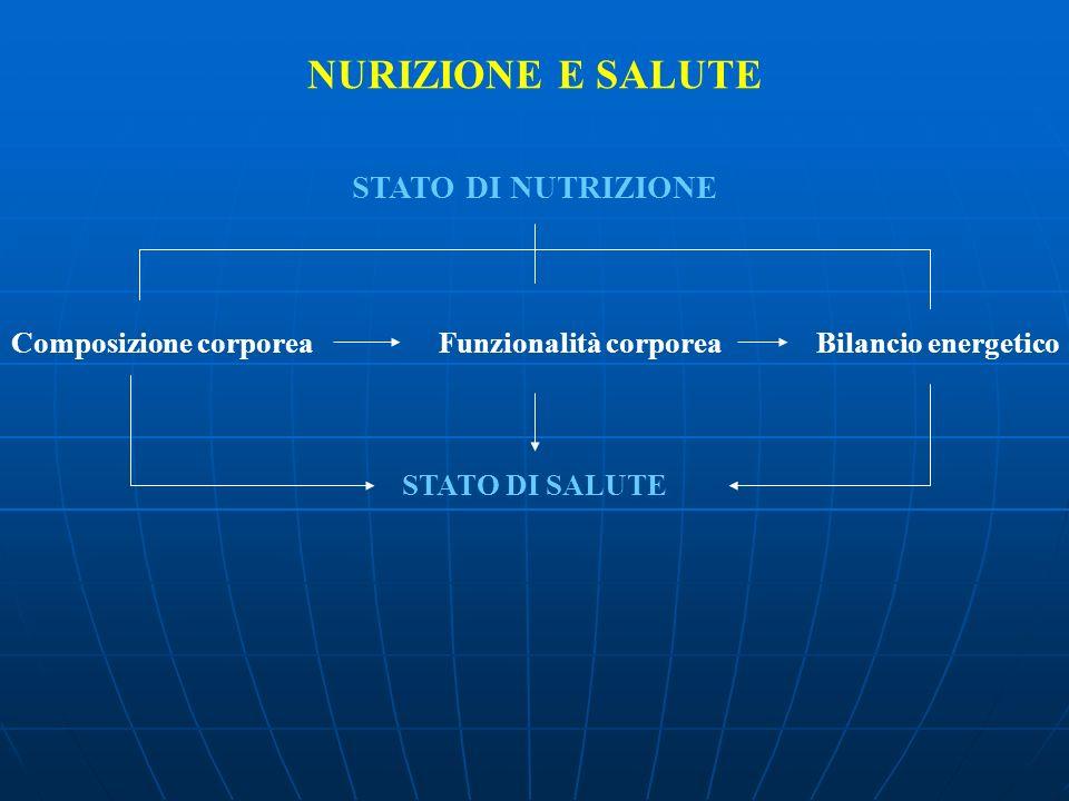 NURIZIONE E SALUTE STATO DI NUTRIZIONE Composizione corporeaFunzionalità corporea Bilancio energetico STATO DI SALUTE
