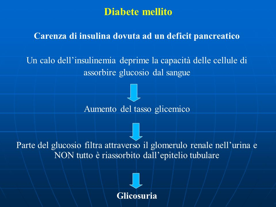 Carenza di insulina dovuta ad un deficit pancreatico Un calo dellinsulinemia deprime la capacità delle cellule di assorbire glucosio dal sangue Aument