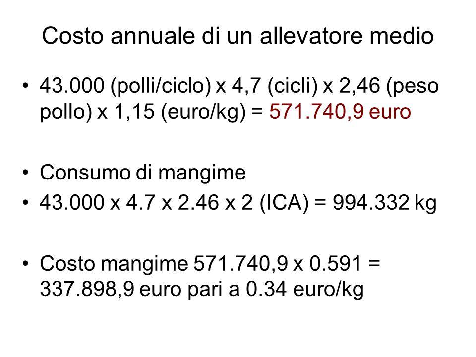 Costo annuale di un allevatore medio 43.000 (polli/ciclo) x 4,7 (cicli) x 2,46 (peso pollo) x 1,15 (euro/kg) = 571.740,9 euro Consumo di mangime 43.00