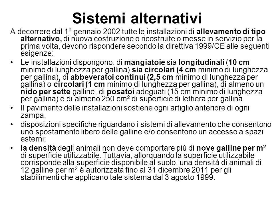 Sistemi alternativi A decorrere dal 1° gennaio 2002 tutte le installazioni di allevamento di tipo alternativo, di nuova costruzione o ricostruite o me
