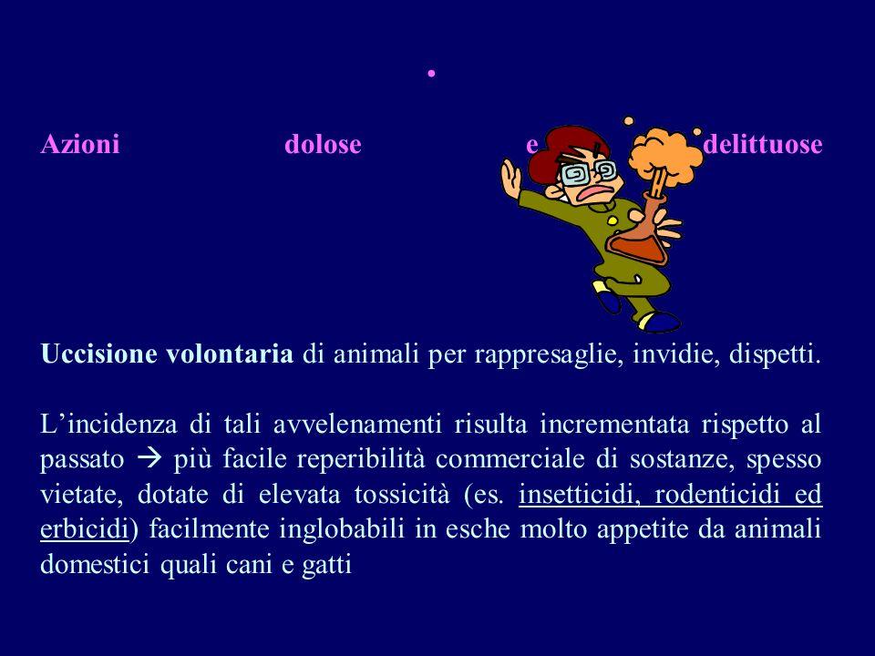 Non esiste in Italia un centro antiveleni veterinario mentre diversi sono i centri antiveleni umani; I dati relativi alla epidemiologia degli avvelenamenti negli animali in genere sono scarsi;