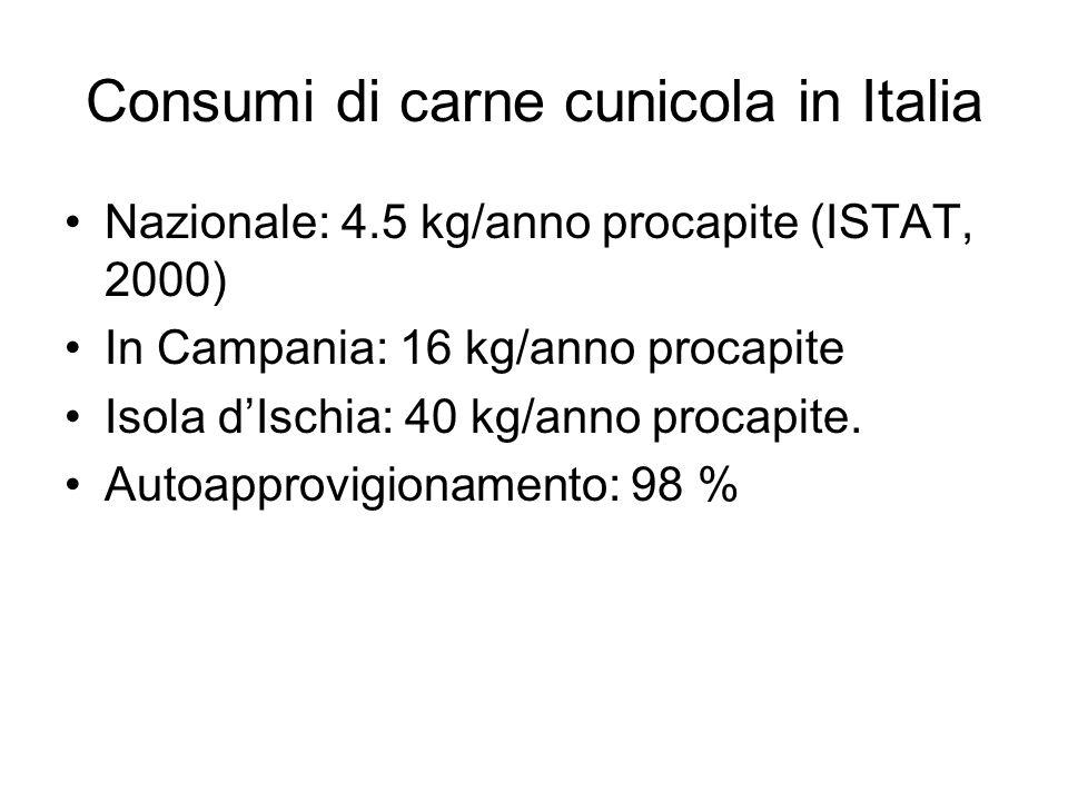 Consumi di carne cunicola in Italia Nazionale: 4.5 kg/anno procapite (ISTAT, 2000) In Campania: 16 kg/anno procapite Isola dIschia: 40 kg/anno procapi