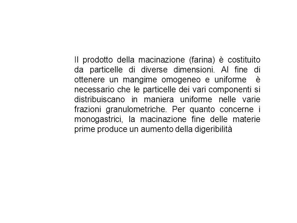 Il prodotto della macinazione (farina) è costituito da particelle di diverse dimensioni.