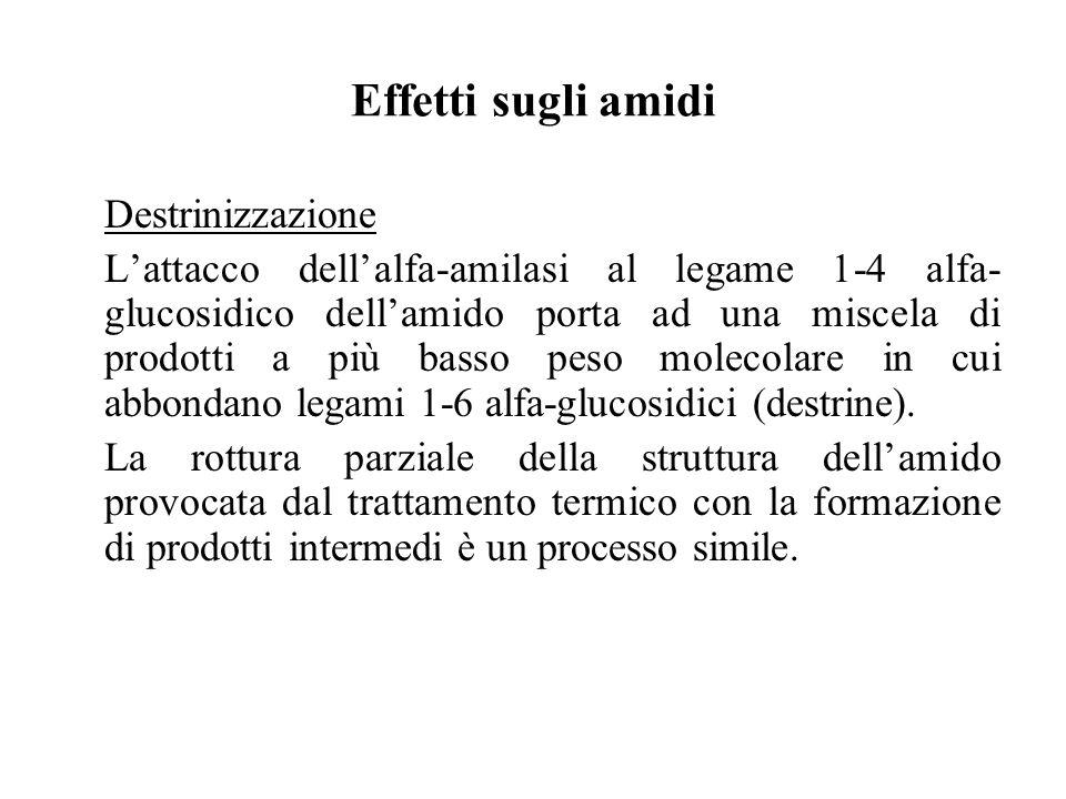 Effetti sugli amidi Destrinizzazione Lattacco dellalfa-amilasi al legame 1-4 alfa- glucosidico dellamido porta ad una miscela di prodotti a più basso peso molecolare in cui abbondano legami 1-6 alfa-glucosidici (destrine).