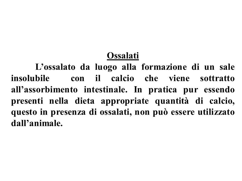 Ossalati Lossalato da luogo alla formazione di un sale insolubile con il calcio che viene sottratto allassorbimento intestinale.