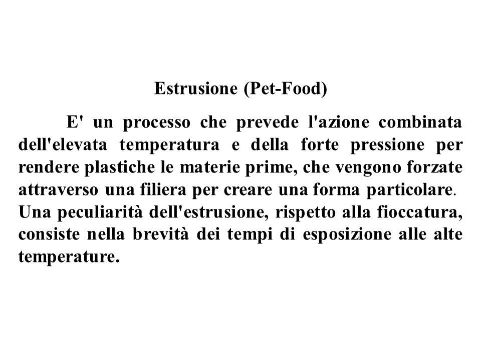 Estrusione (Pet-Food) E un processo che prevede l azione combinata dell elevata temperatura e della forte pressione per rendere plastiche le materie prime, che vengono forzate attraverso una filiera per creare una forma particolare.