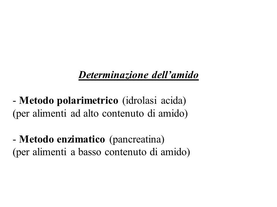 Determinazione dellamido - Metodo polarimetrico (idrolasi acida) (per alimenti ad alto contenuto di amido) - Metodo enzimatico (pancreatina) (per alimenti a basso contenuto di amido)