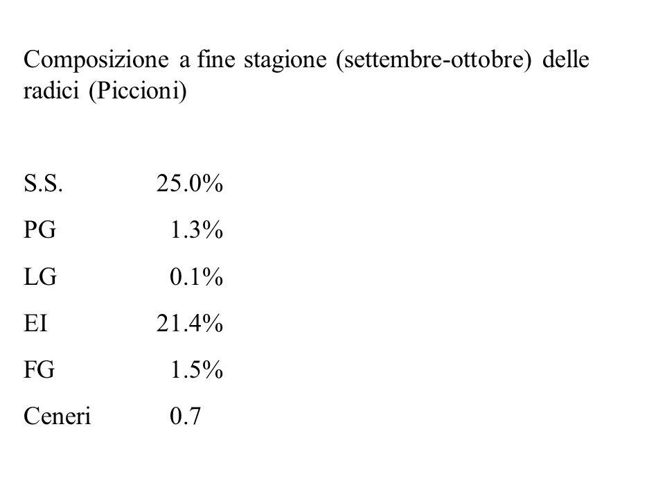 Composizione a fine stagione (settembre-ottobre) delle radici (Piccioni) S.S.25.0% PG 1.3% LG 0.1% EI21.4% FG 1.5% Ceneri 0.7