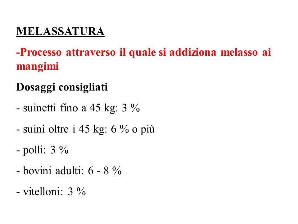 MELASSATURA -Processo attraverso il quale si addiziona melasso ai mangimi Dosaggi consigliati suinetti fino a 45 kg: 3 % suini oltre i 45 kg: 6 % o più polli: 3 % bovini adulti: 6 8 % vitelloni: 3 %