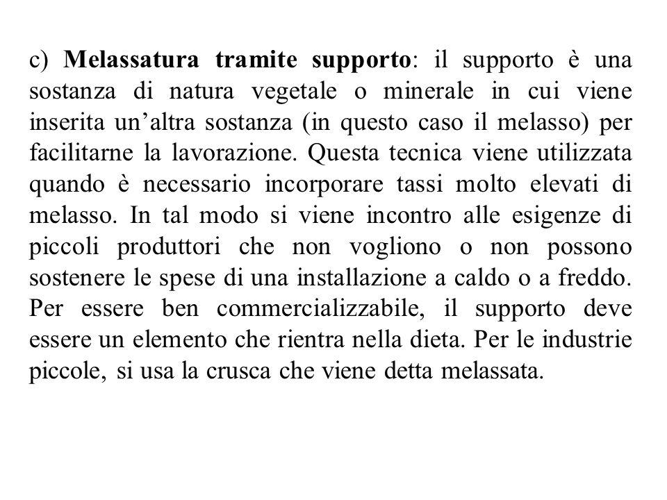 c) Melassatura tramite supporto: il supporto è una sostanza di natura vegetale o minerale in cui viene inserita unaltra sostanza (in questo caso il melasso) per facilitarne la lavorazione.