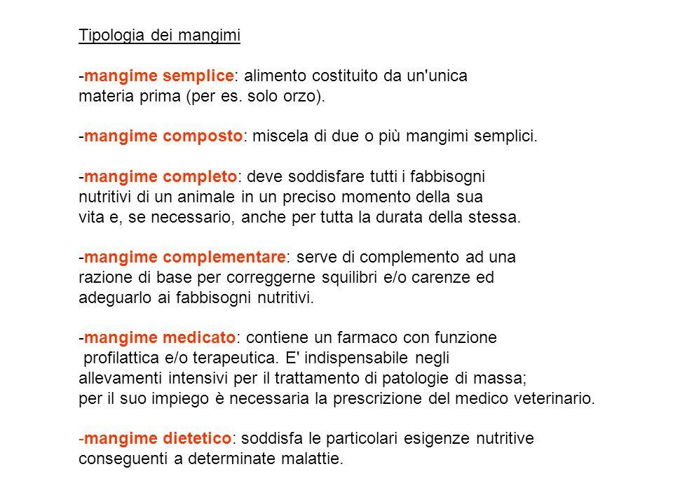 Tipologia dei mangimi mangime semplice: alimento costituito da un unica materia prima (per es.