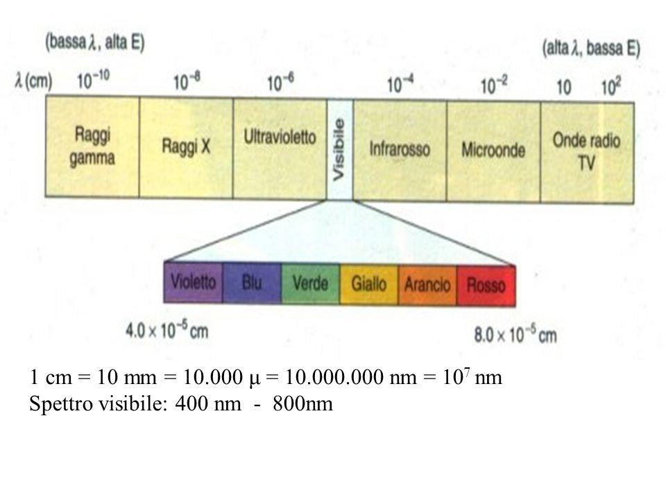 1 cm = 10 mm = 10.000 μ = 10.000.000 nm = 10 7 nm Spettro visibile: 400 nm - 800nm