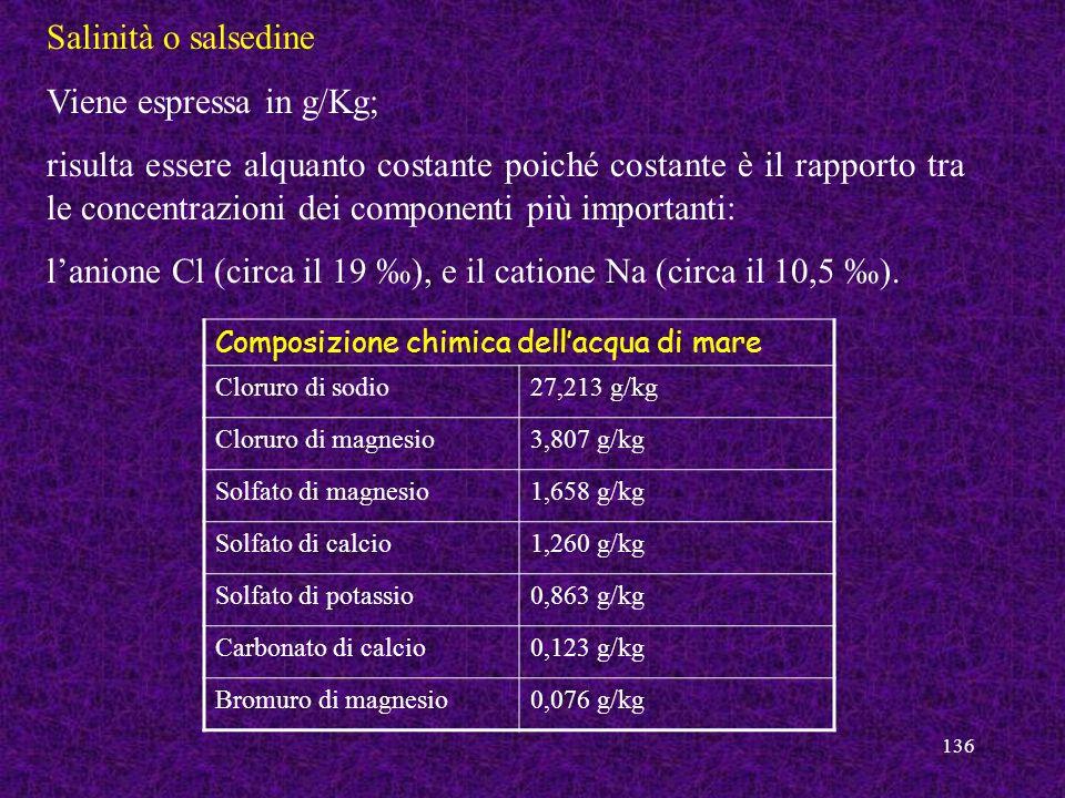 136 Salinità o salsedine Viene espressa in g/Kg; risulta essere alquanto costante poiché costante è il rapporto tra le concentrazioni dei componenti p