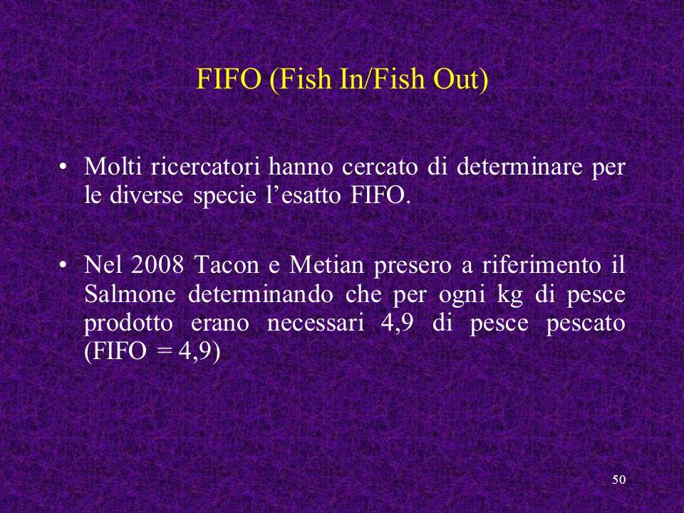 50 FIFO (Fish In/Fish Out) Molti ricercatori hanno cercato di determinare per le diverse specie lesatto FIFO. Nel 2008 Tacon e Metian presero a riferi