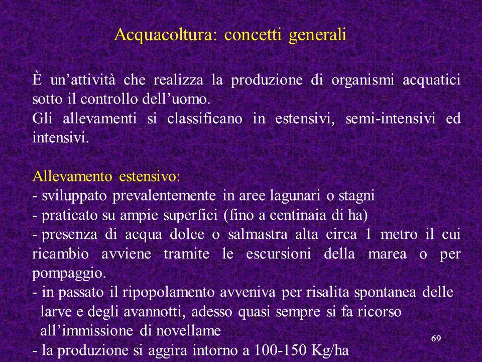 69 Acquacoltura: concetti generali È unattività che realizza la produzione di organismi acquatici sotto il controllo delluomo. Gli allevamenti si clas