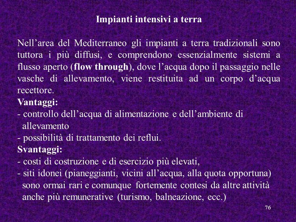 76 Impianti intensivi a terra Nellarea del Mediterraneo gli impianti a terra tradizionali sono tuttora i più diffusi, e comprendono essenzialmente sis