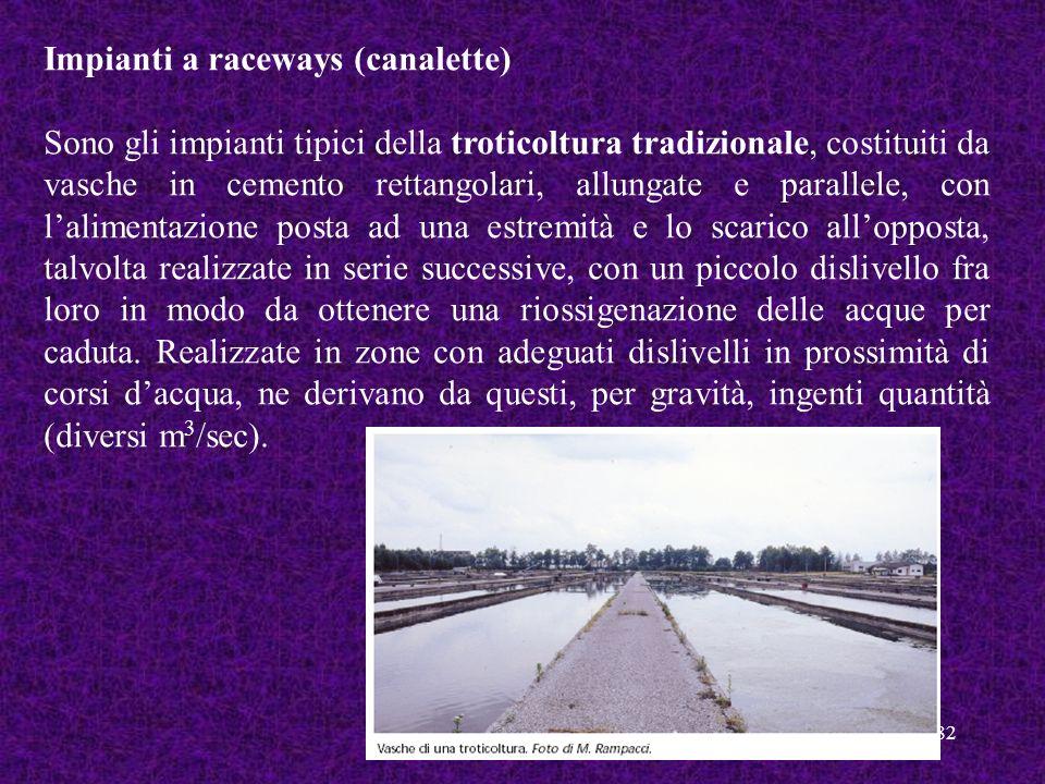 82 Impianti a raceways (canalette) Sono gli impianti tipici della troticoltura tradizionale, costituiti da vasche in cemento rettangolari, allungate e