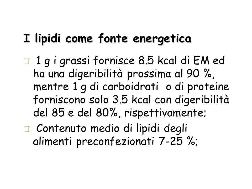 I lipidi come fonte energetica ` 1 g i grassi fornisce 8.5 kcal di EM ed ha una digeribilità prossima al 90 %, mentre 1 g di carboidrati o di proteine