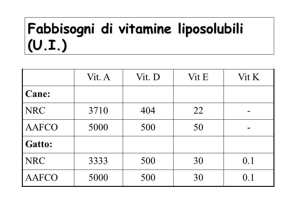 Fabbisogni di vitamine liposolubili (U.I.) Cane: -224043710NRC 0.1305005000AAFCO 0.1305003333NRC Gatto: -505005000AAFCO Vit KVit EVit. DVit. A