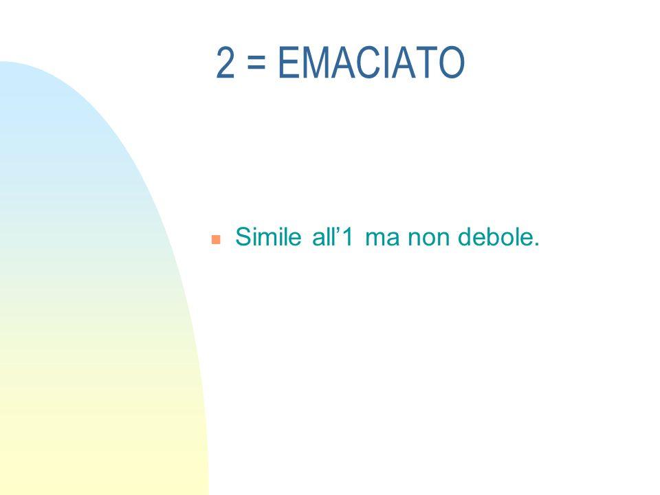 3 = Molto magro Nessun accenno di grasso visibile o palpabile sulle costole o sulla punta di petto.