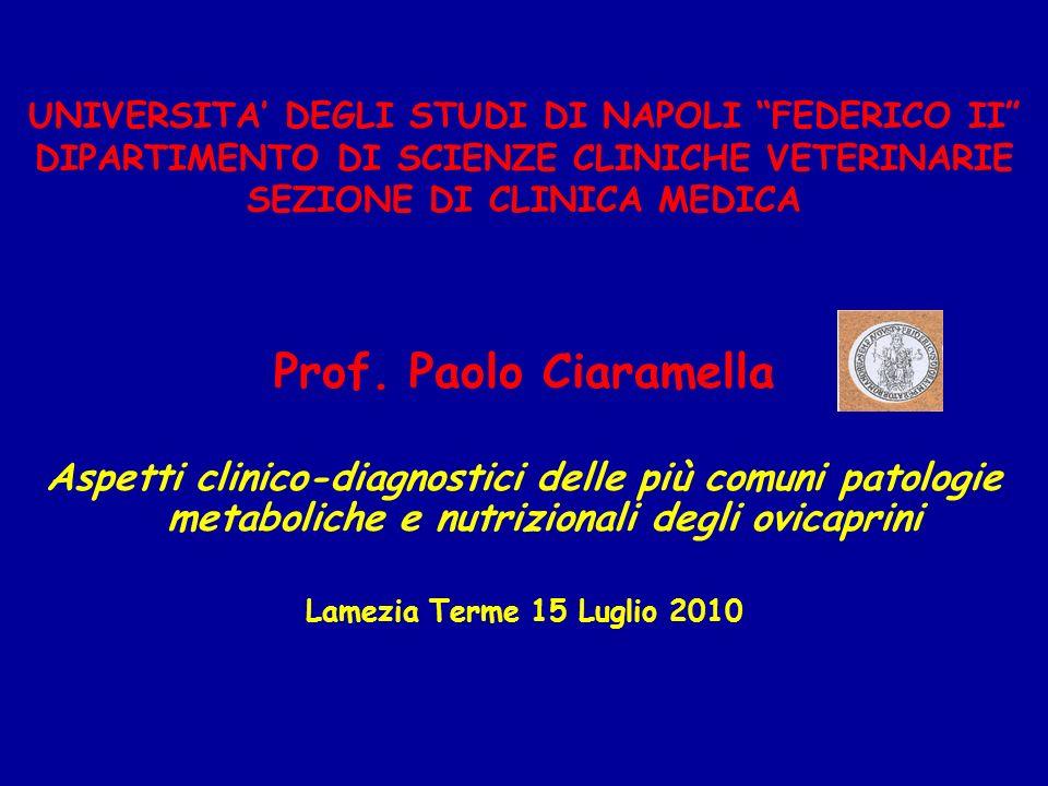 UNIVERSITA DEGLI STUDI DI NAPOLI FEDERICO II DIPARTIMENTO DI SCIENZE CLINICHE VETERINARIE SEZIONE DI CLINICA MEDICA Prof. Paolo Ciaramella Aspetti cli