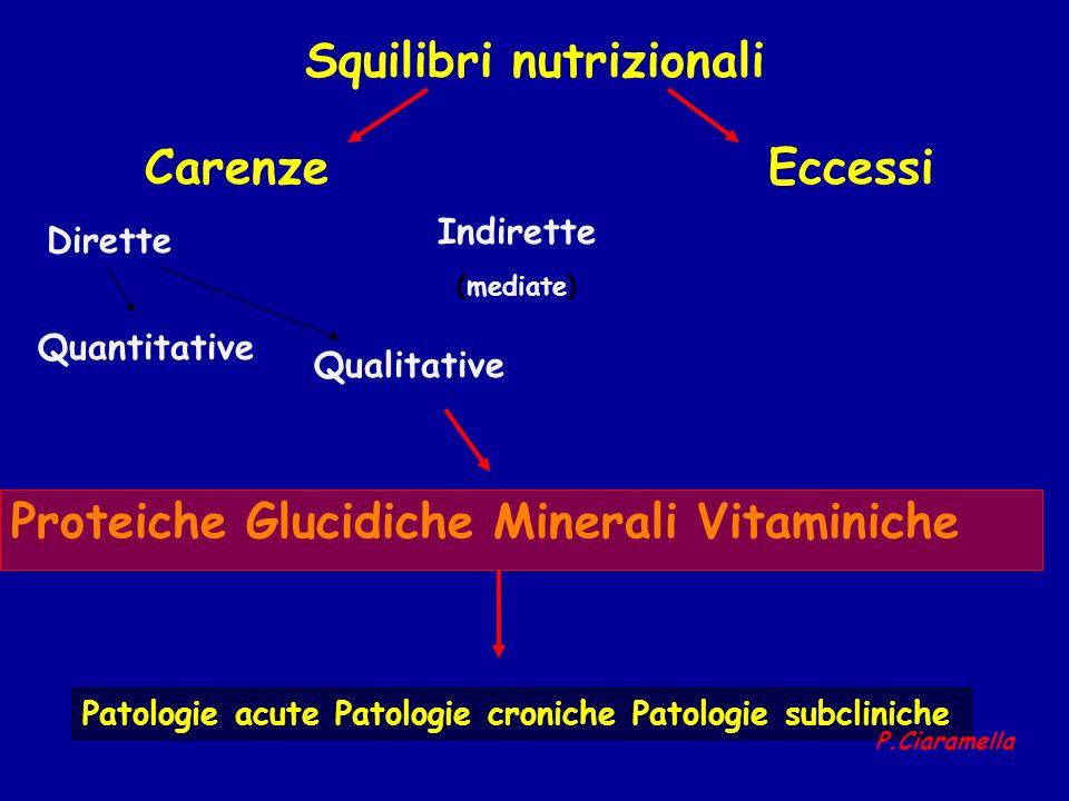 Squilibri nutrizionali CarenzeEccessi Proteiche Glucidiche Minerali Vitaminiche Patologie acute Patologie croniche Patologie subcliniche Dirette Indir