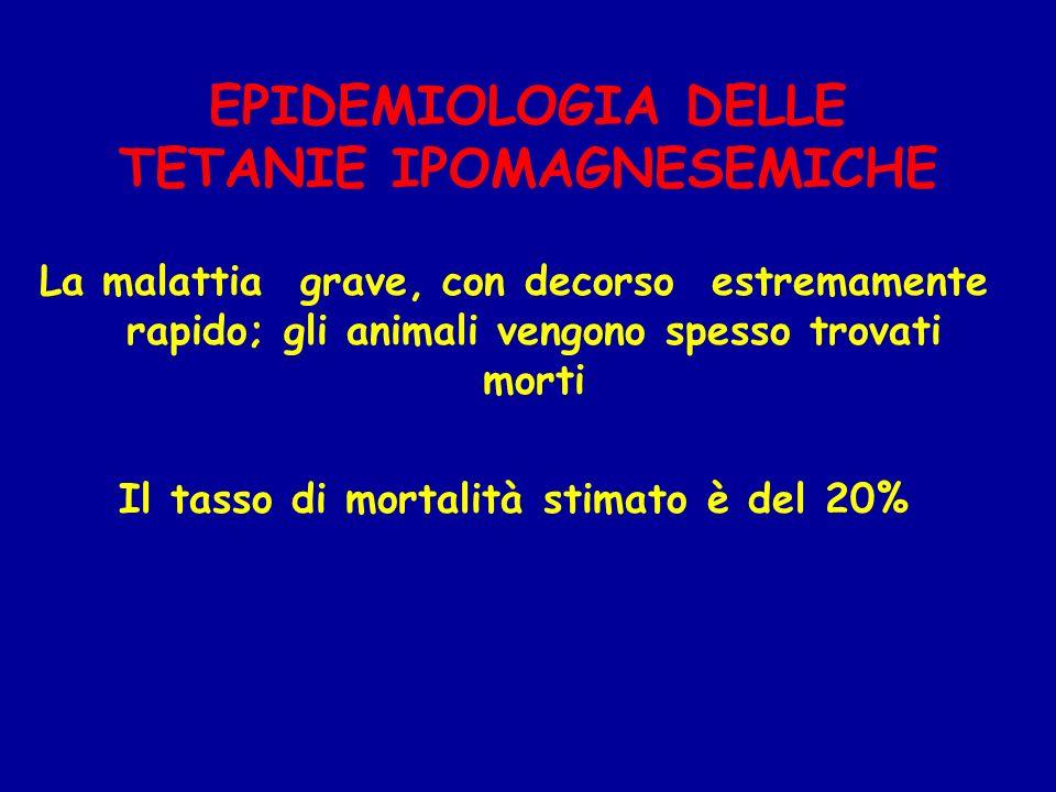 La malattia grave, con decorso estremamente rapido; gli animali vengono spesso trovati morti Il tasso di mortalità stimato è del 20% EPIDEMIOLOGIA DEL