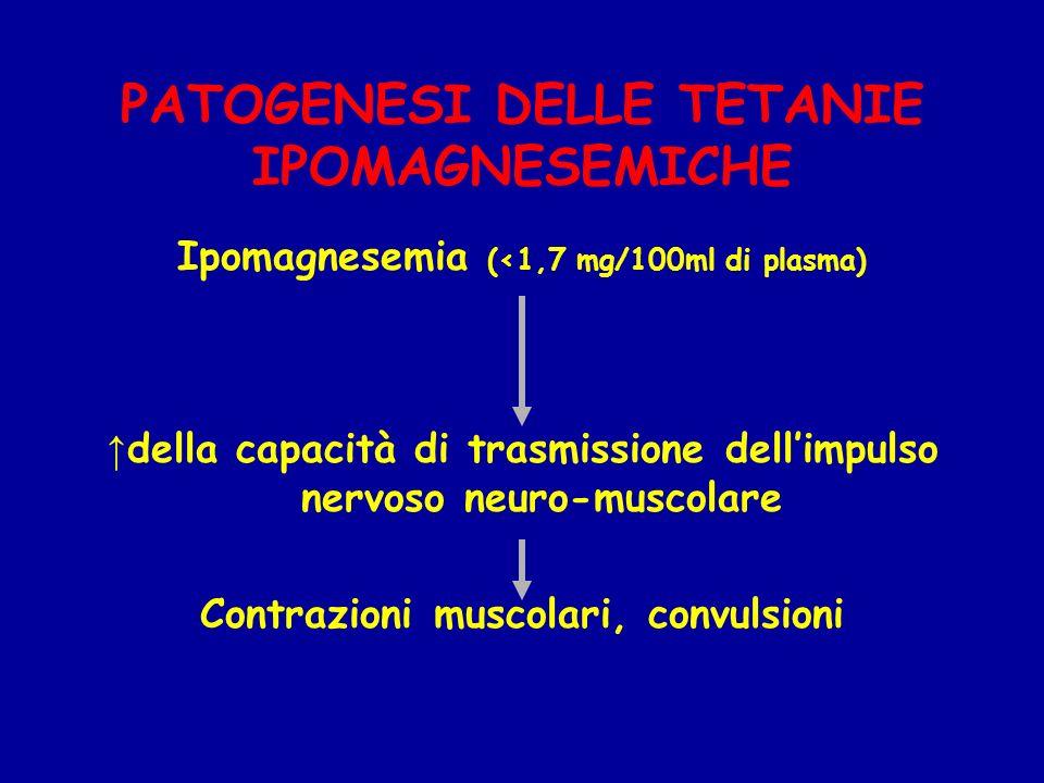PATOGENESI DELLE TETANIE IPOMAGNESEMICHE Ipomagnesemia (<1,7 mg/100ml di plasma) della capacità di trasmissione dellimpulso nervoso neuro-muscolare Co