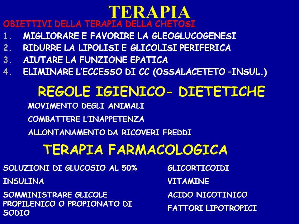 TERAPIA OBIETTIVI DELLA TERAPIA DELLA CHETOSI 1.MIGLIORARE E FAVORIRE LA GLEOGLUCOGENESI 2.RIDURRE LA LIPOLISI E GLICOLISI PERIFERICA 3.AIUTARE LA FUN