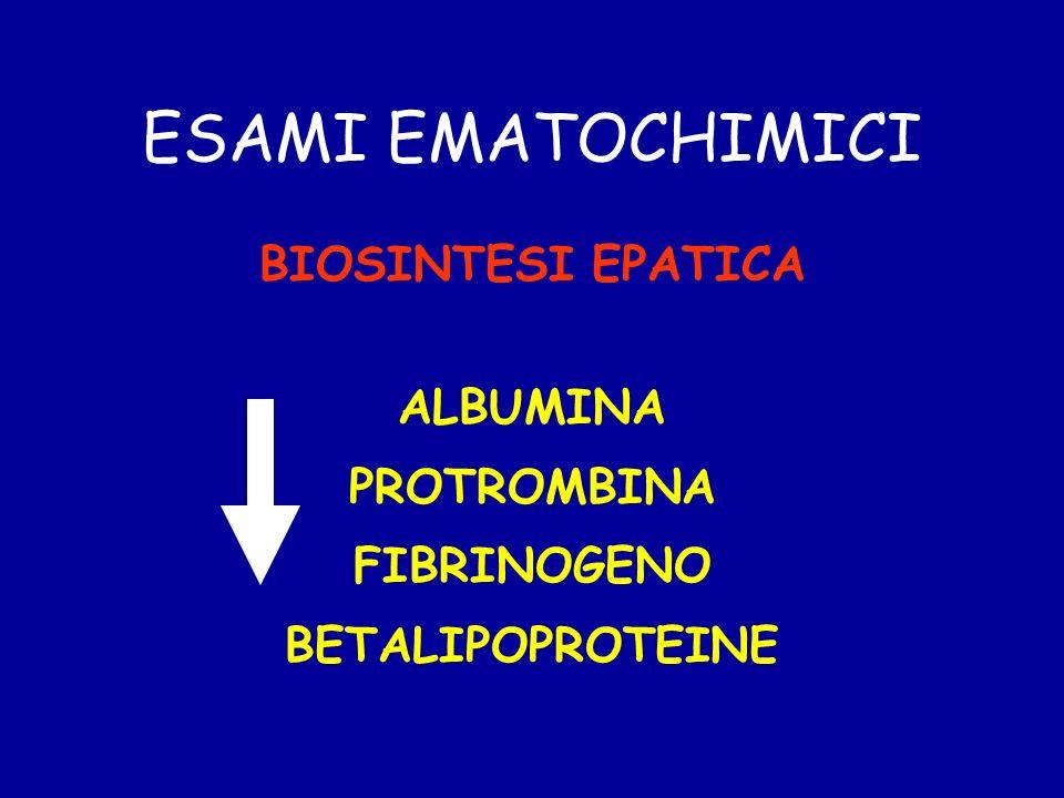 ESAMI EMATOCHIMICI BIOSINTESI EPATICA ALBUMINA PROTROMBINA FIBRINOGENO BETALIPOPROTEINE