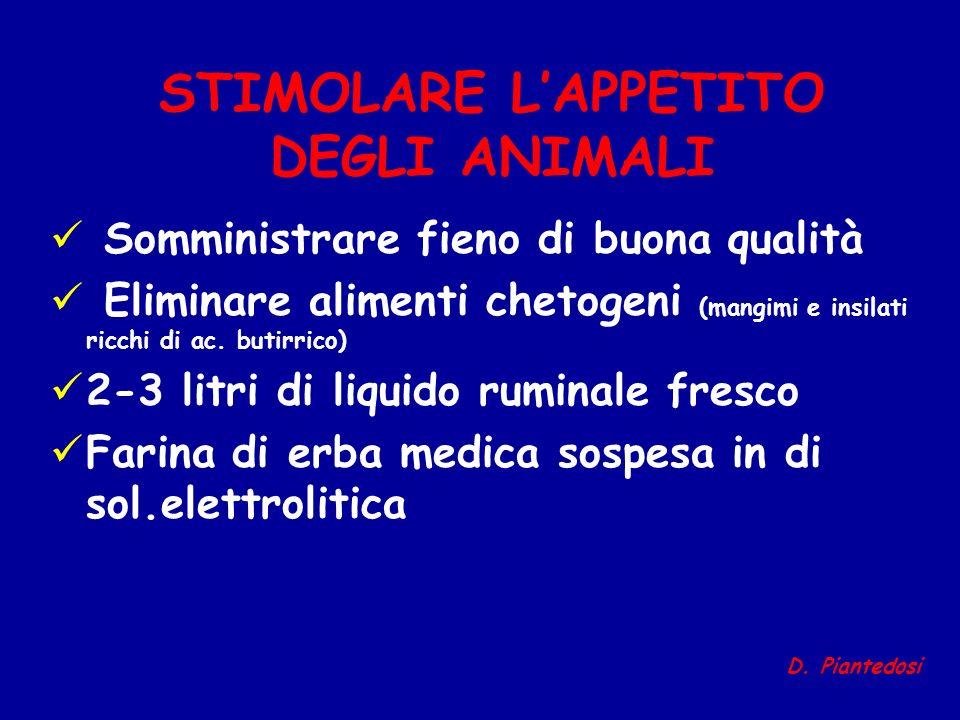 STIMOLARE LAPPETITO DEGLI ANIMALI Somministrare fieno di buona qualità Eliminare alimenti chetogeni (mangimi e insilati ricchi di ac. butirrico) 2-3 l