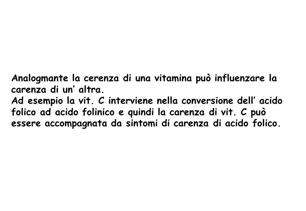 Analogmante la cerenza di una vitamina può influenzare la carenza di un altra. Ad esempio la vit. C interviene nella conversione dell acido folico ad