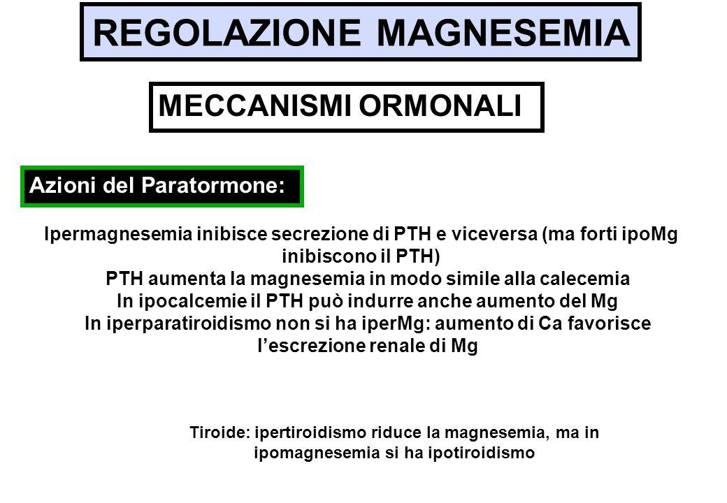 REGOLAZIONE MAGNESEMIA Ipermagnesemia inibisce secrezione di PTH e viceversa (ma forti ipoMg inibiscono il PTH) PTH aumenta la magnesemia in modo simi