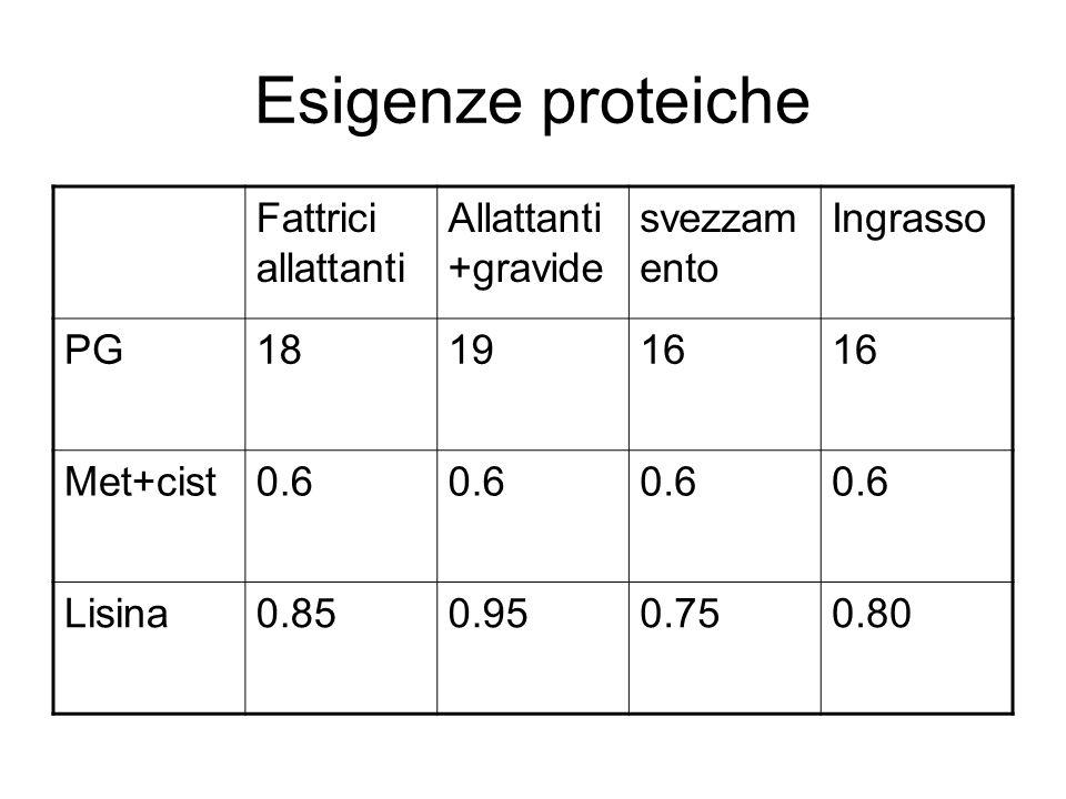 Esigenze proteiche Fattrici allattanti Allattanti +gravide svezzam ento Ingrasso PG181916 Met+cist0.6 Lisina0.850.950.750.80