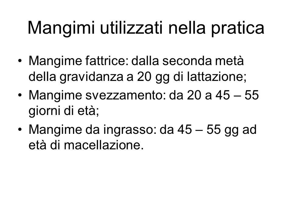 Mangimi utilizzati nella pratica Mangime fattrice: dalla seconda metà della gravidanza a 20 gg di lattazione; Mangime svezzamento: da 20 a 45 – 55 giorni di età; Mangime da ingrasso: da 45 – 55 gg ad età di macellazione.