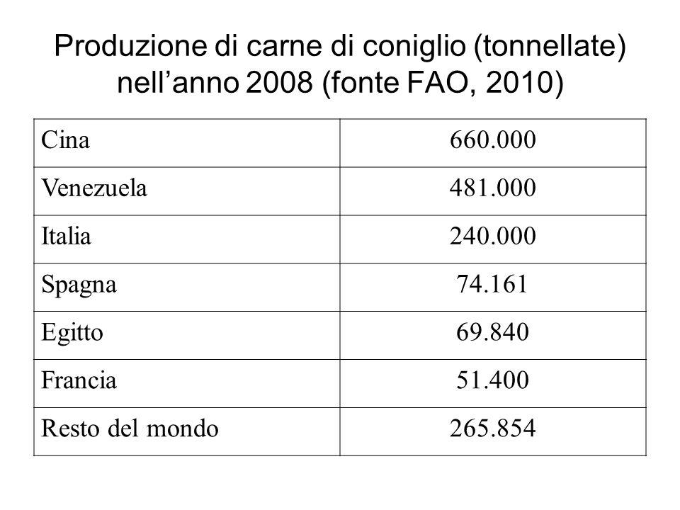 Produzione di carne di coniglio (tonnellate) nellanno 2008 (fonte FAO, 2010) Cina660.000 Venezuela481.000 Italia240.000 Spagna74.161 Egitto69.840 Francia51.400 Resto del mondo265.854