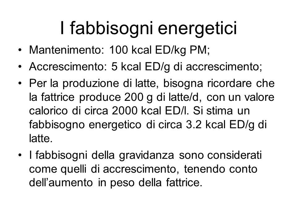 I fabbisogni energetici Mantenimento: 100 kcal ED/kg PM; Accrescimento: 5 kcal ED/g di accrescimento; Per la produzione di latte, bisogna ricordare che la fattrice produce 200 g di latte/d, con un valore calorico di circa 2000 kcal ED/l.