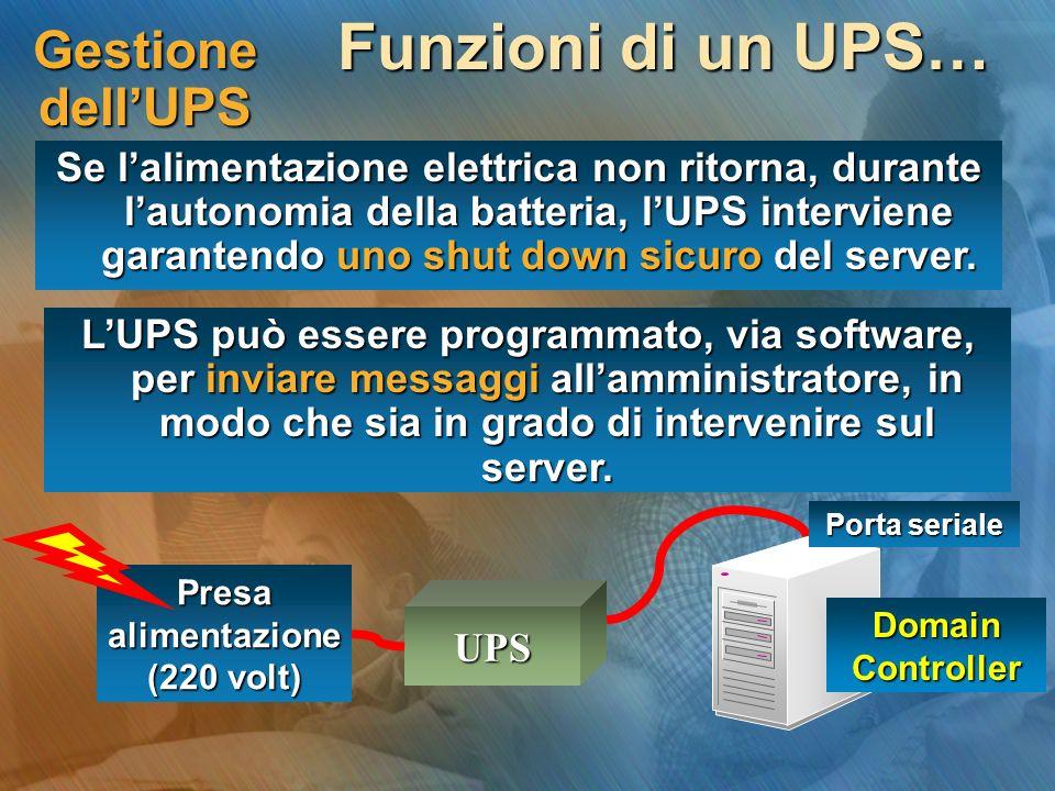 Gestione dellUPS Funzioni di un UPS… Se lalimentazione elettrica non ritorna, durante lautonomia della batteria, lUPS interviene garantendo uno shut down sicuro del server.