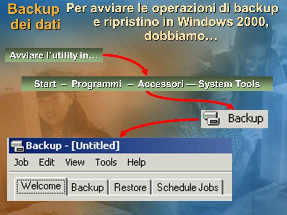 Backup dei dati Per avviare le operazioni di backup e ripristino in Windows 2000, dobbiamo… Avviare lutility in… Start – Programmi – Accessori System Tools