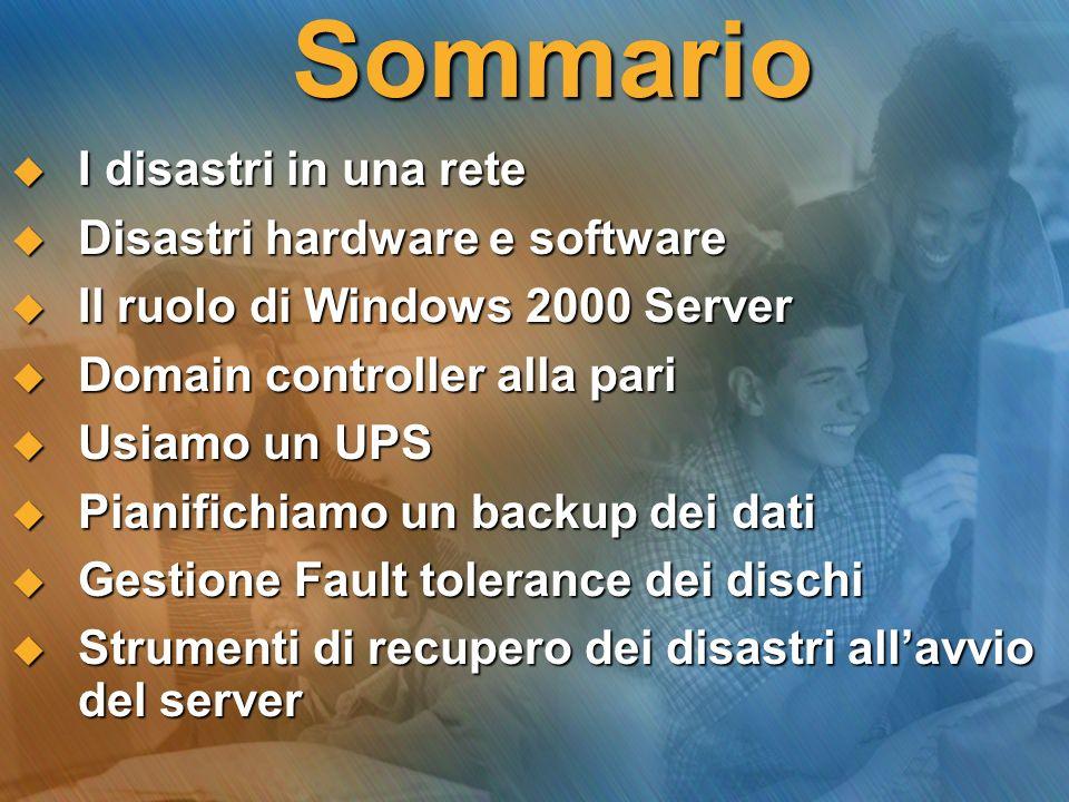 Gestione dellUPS In Windows 2000 Server, possiamo configurare un UPS… Scelta modello UPS Configurazione UPS