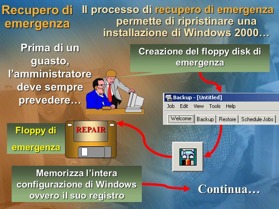 Floppy di emergenza Recupero di emergenza Il processo di recupero di emergenza permette di ripristinare una installazione di Windows 2000… Prima di un guasto, lamministratore deve sempre prevedere… Continua… Memorizza lintera configurazione di Windows ovvero il suo registro REPAIR Creazione del floppy disk di emergenza