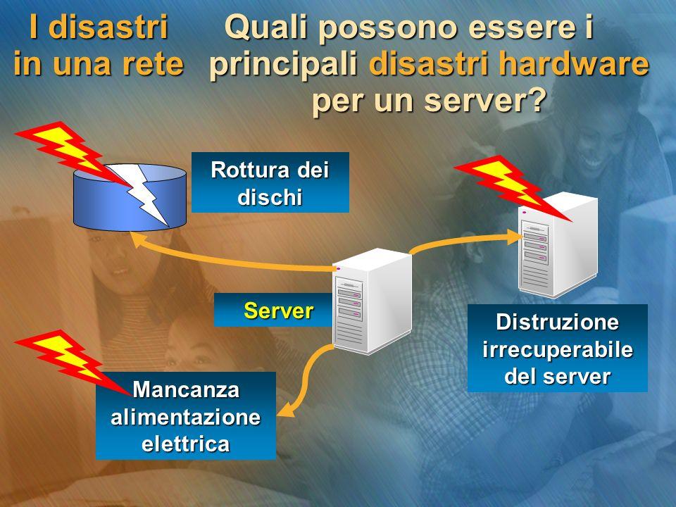 I disastri in una rete Quali possono essere i principali disastri hardware per un server.
